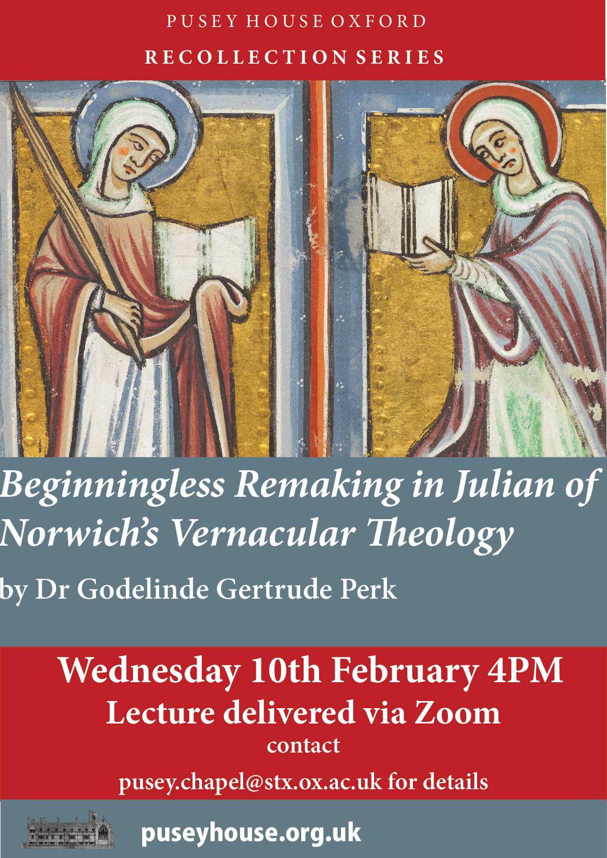 Wed., Feb 10th 4PM GMT, Beginningless Remaking in Julian of Norwich's Vernacular Theology