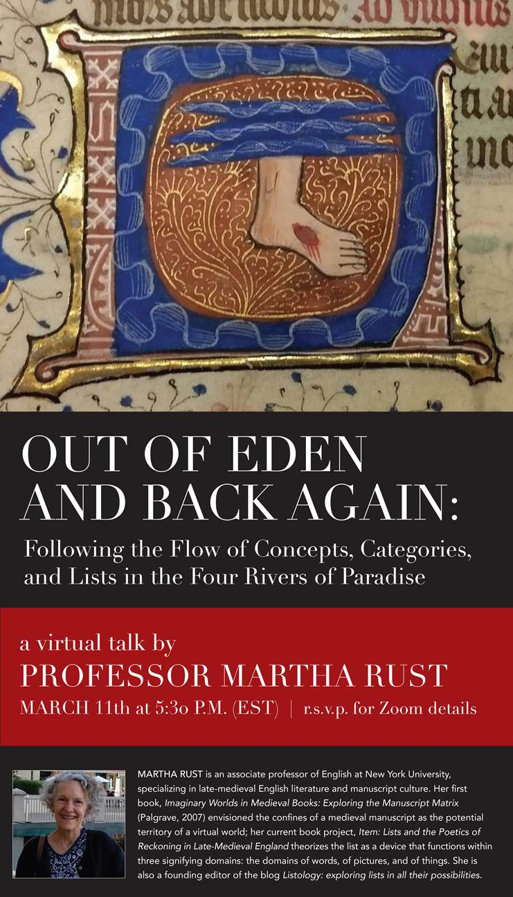 """March 11th, 17:30EST, Prof. Martha Rust, """"Out of Eden and Back Again"""""""
